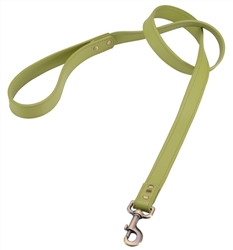 Green leather dog leash