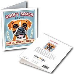 "Goofy Boxer GREETING CARD ""Sweet, Hoppy, Nutty"""