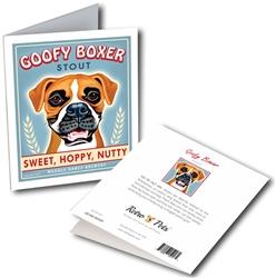 "Goofy Boxer GREETING CARD ""Sweet, Hoppy, Nutty"""
