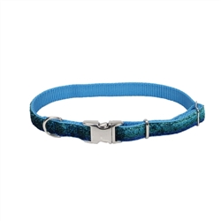 COASTAL PET ATTIRE SPARKLES ADJUSTABLE COLLAR WITH METAL BUCKLE BLUE