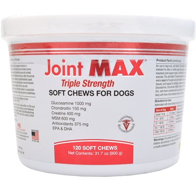 Joint MAX TRIPLE Strength SOFT CHEWS (120 CHEWS) - Joint and Arthritis Support for Dogs
