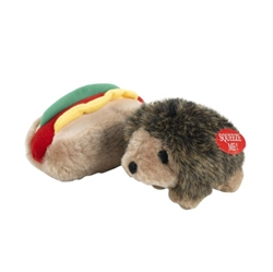 Booda Soft Bite Plush Hedgehog & Hotdog Small 2pk