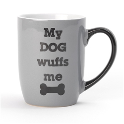 My Dog Wuffs Me Stoneware Mug (Gray)
