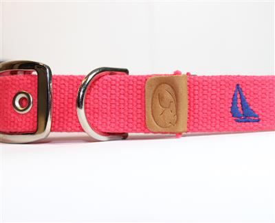 Sailboat Embroidered Dog Collar - Geranium Red