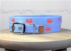 Crab Embroidered Dog Collar - Carolina Blue