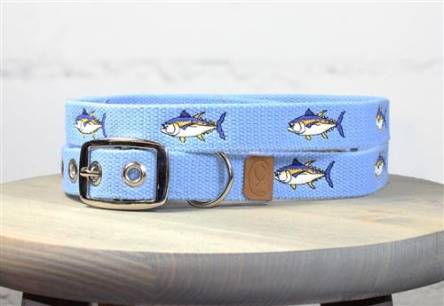 Tuna Fish Embroidered Dog Collar - Carolina Blue