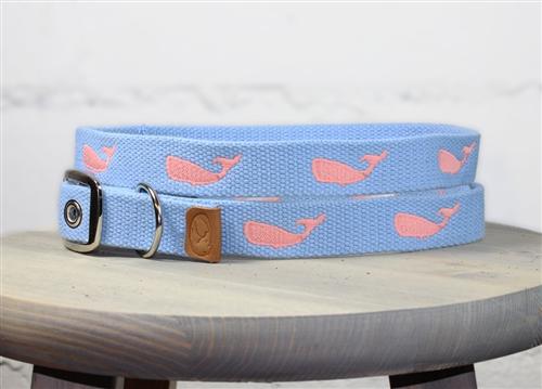 Whale Embroidered Dog Collar - Carolina Blue