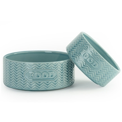 "Aqua ""Food"" Embossed Pet Bowls"