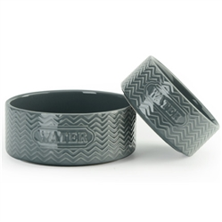 "Gray ""Water"" Embossed Pet Bowls"