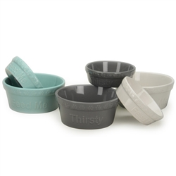 "White ""Thirsty"" Embossed Pet Bowls"