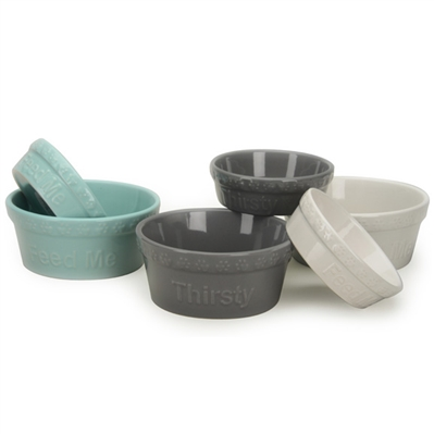 """Gray """"Thirsty"""" Embossed Pet Bowls"""