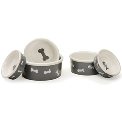 Gray Bone & Fish Pet Bowls