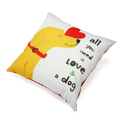 "All You Need is Love and a Dog Accent Pillow (20"" x 20"")"