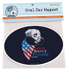 Freedom Dog Oval Car Magnet