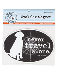 Never Travel Alone Oval Car Magnet