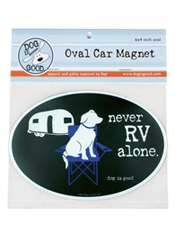 Never RV Alone Oval Car Magnet