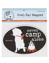 Never Camp Alone Oval Car Magnet
