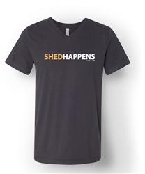 Shedhappens - Dark Grey Heathered Short Sleeve Unisex V Neck