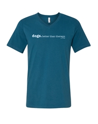 Dogs. Cheaper than therapy -Deep Teal Short Sleeve Unisex Tee  -VNeck