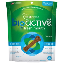 Fruitables Small BioActive Fresh Mouth Dental Chews - 7.3oz Pouch (15 chews), for dogs up to 25lbs