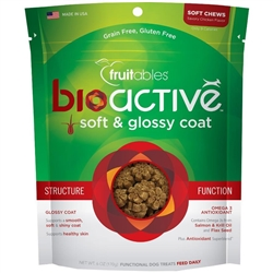 Fruitables BioActive Soft & Glossy Coat Dog Treats - 6oz Pouch