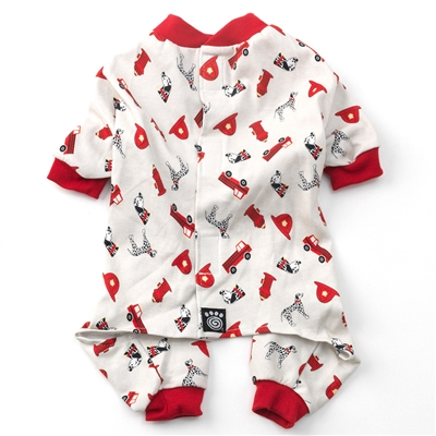Firetruck PJs Cream with Red Trim