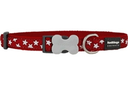 White Stars on Red - Dog Collars, Leads, and Harnesses