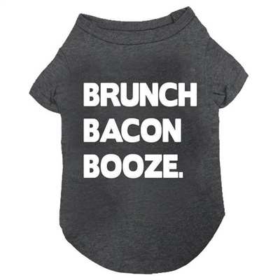 Brunch Bacon Booze T-Shirt in Charcoal Grey