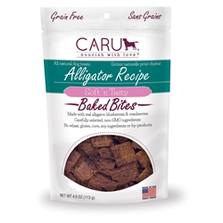 Caru Soft 'n Tasty Natural Alligator Recipe Bites for Dogs 4oz.