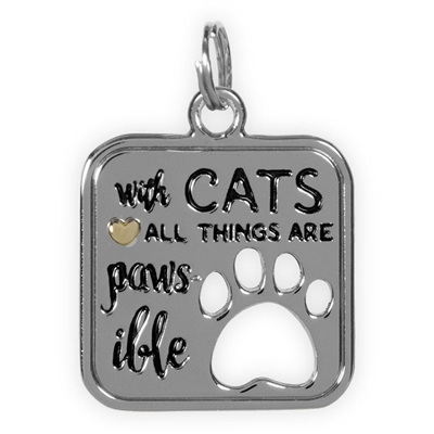 Best Furr-End Pendant & Charm Set-With Cats All Things Are Paws-Ible