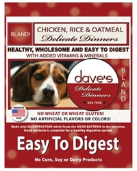 DAVES DELICATE DINNERS (EASY TO DIGEST) CHICKEN MEAL, RICE & OATMEAL 16LBS