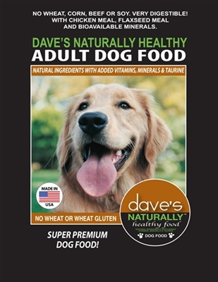 DAVES NATURALLY HEALTHY ADULT DOG FOOD 30 LBS