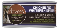 DAVES NATURALLY HEALTHY CAT FOOD, CHICKEN & WHITEFISH DINNER CASE OF 24