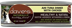 DAVES NATURALLY HEALTHY CAT FOOD, AHI TUNA / CHICKEN CASE OF 24