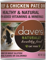 DAVES NATURALLY HEALTHY CAT FOOD, BEEF & CHICKEN CASE OF 12  (12.5 oz)