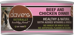 DAVES NATURALLY HEALTHY CAT FOOD, BEEF & CHICKEN DINNER CASE OF 24 (5.5 oz)