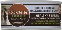DAVES NATURALLY HEALTHY CAT FOOD, TUNA & MACKEREL DINNER IN GRAVY CASE OF 24