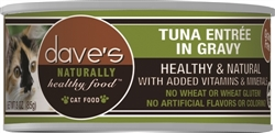 DAVES NATURALLY HEALTHY CAT FOOD, TUNA ENTREE IN GRAVY CASE OF 24