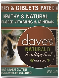 DAVES NATURALLY HEALTHY CAT FOOD, TURKEY & GIBLETS DINNER CASE OF 24 (12.5 oz)