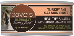 DAVES NATURALLY HEALTHY CAT FOOD, TURKEY & SALMON DINNER CASE OF 24