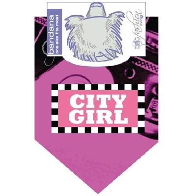 Dog Bandana City Girl Pink  (2 pack)