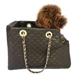 Kate Carrier in Quilted Chocolate with Chain Straps