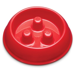 Small - Brake-Fast Dog Food Slow Feed Bowl - Small Red