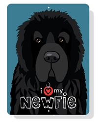 "Newfie - I (Heart) My Newfie sign 9"" x 12"" - Slate Blue Sign"