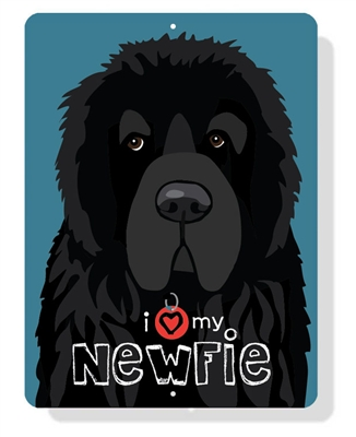 "Newfie - I (Heart) My Newfie sign 9"" x 12"" - Slate Blue Sign"