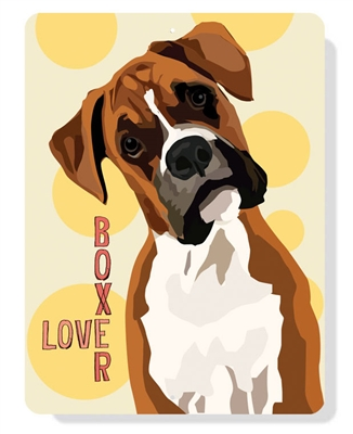 "Boxer - Boxer Love sign - 9"" x 12"" - Yellow"