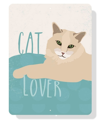 """Cat - Cat Lover sign 9"""" x 12""""  -  Cream Sign"""