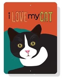 "Cat - I Love My Cat sign 9"" x 12""  -  Red Sign"