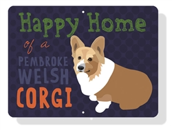 "Corgi - Happy Home of a Corgi (Pembroke) 12"" x 9"" (Horizontal) Eggplant Sign"