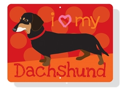 "Dachshund - I Heart My Dachshund Sign 12"" x 9"" (Horizontal) (Black & Tan Dog)"